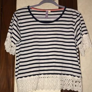 Navy blue and white stripped top